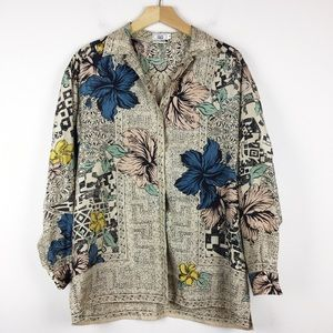Vintage silk geo tribal abstract floral blouse